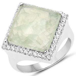 LoveHuang 5.75 Carats Genuine Prehnite and White Topaz Square Ring Solid .925 Sterling Silver With Rhodium Plating