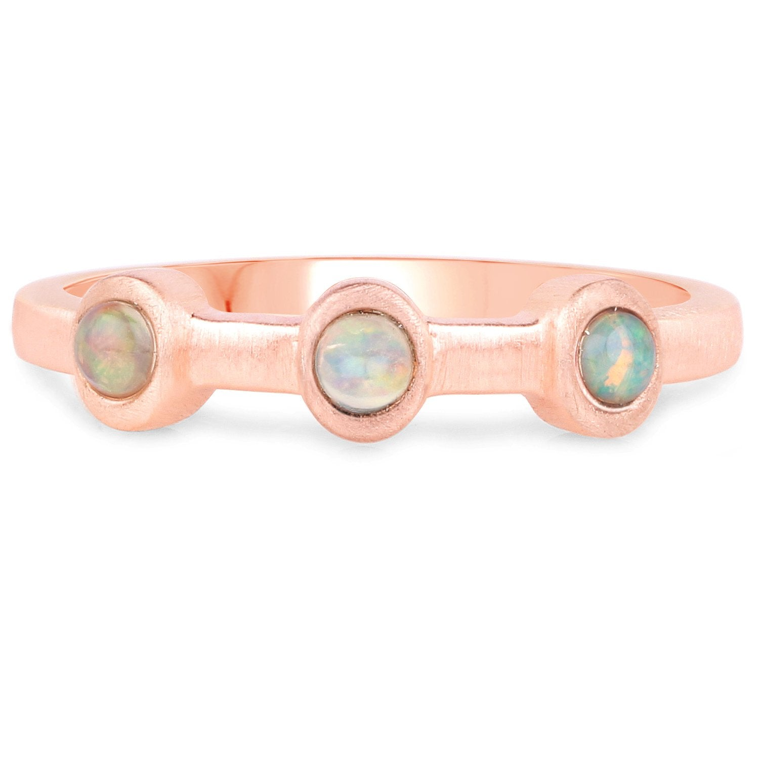 LoveHuang 0.11 Carats Genuine Ethiopian Opal Three Stone Ring Solid .925 Sterling Silver With 18KT Rose Gold Plating, Matte Finish