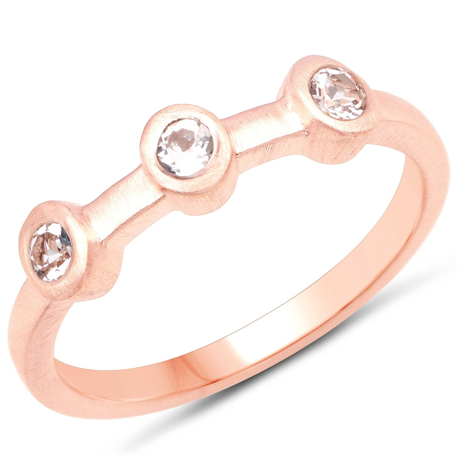 LoveHuang 0.17 Carats Genuine Morganite Three Stone Ring Solid .925 Sterling Silver With 18KT Rose Gold Plating, Matte Finish