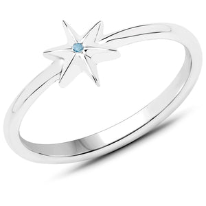 LoveHuang 0.01 Carats Genuine Blue Diamond (I-J, I2-I3) Star Ring Solid .925 Sterling Silver With Rhodium Plating
