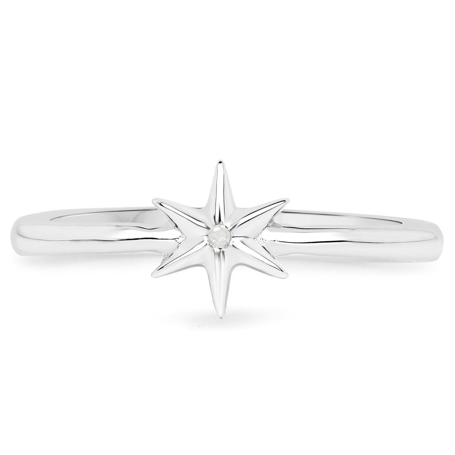 LoveHuang 0.01 Carats Genuine White Diamond (I-J, I2-I3) Star Ring Solid .925 Sterling Silver With Rhodium Plating