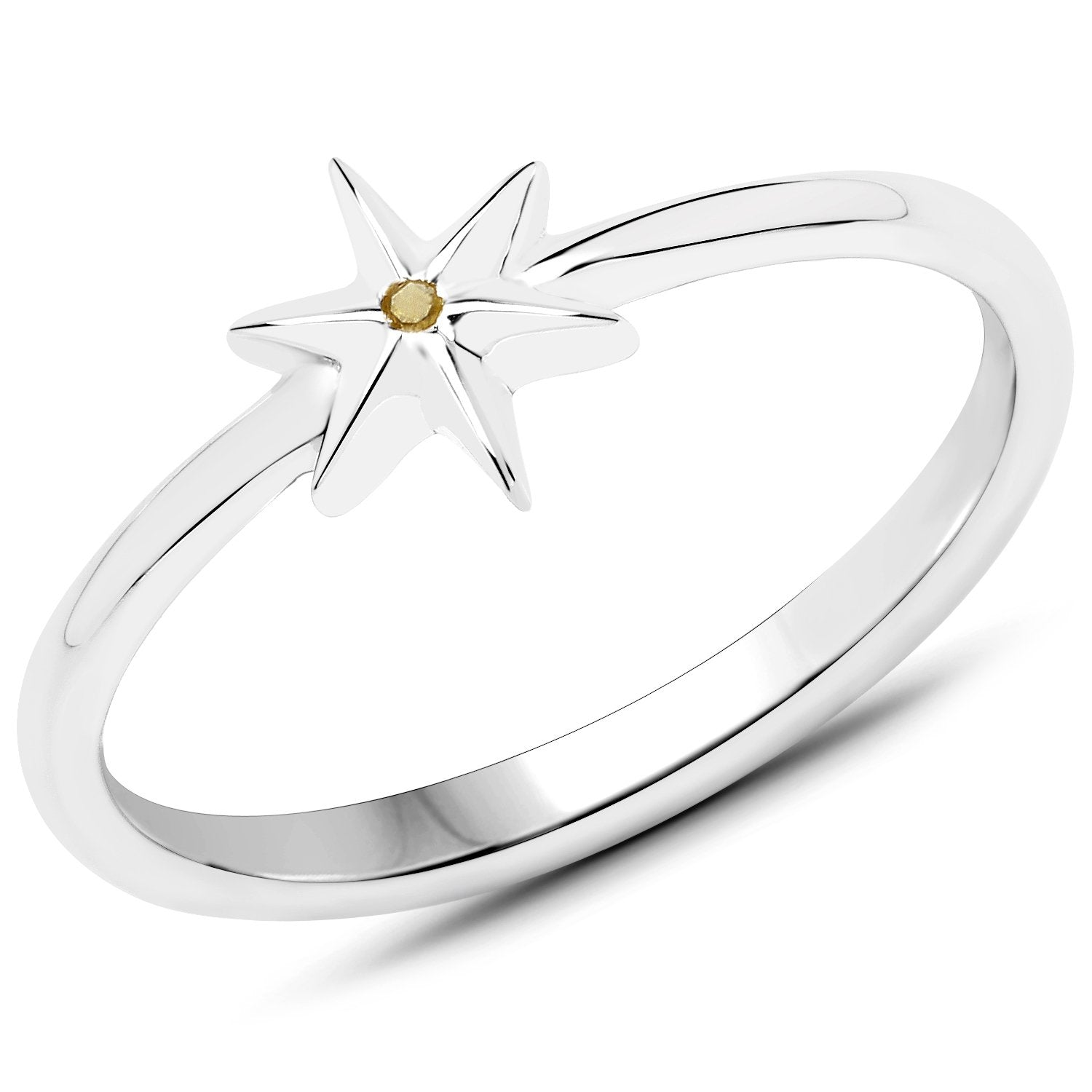 LoveHuang 0.01 Carats Genuine Yellow Diamond (I-J, I2-I3) Star Ring Solid .925 Sterling Silver With Rhodium Plating