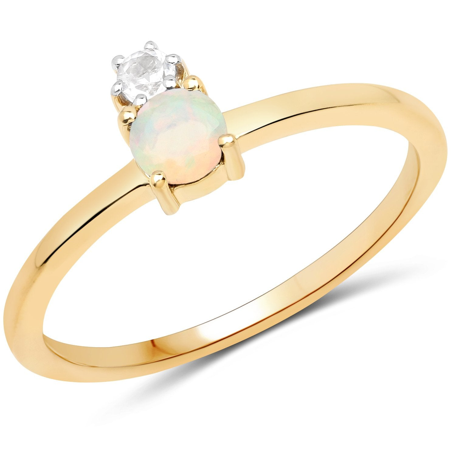 LoveHuang 0.22 Carats Genuine Ethiopian Opal and White Topaz Ring Solid .925 Sterling Silver With 18KT Yellow Gold Plating