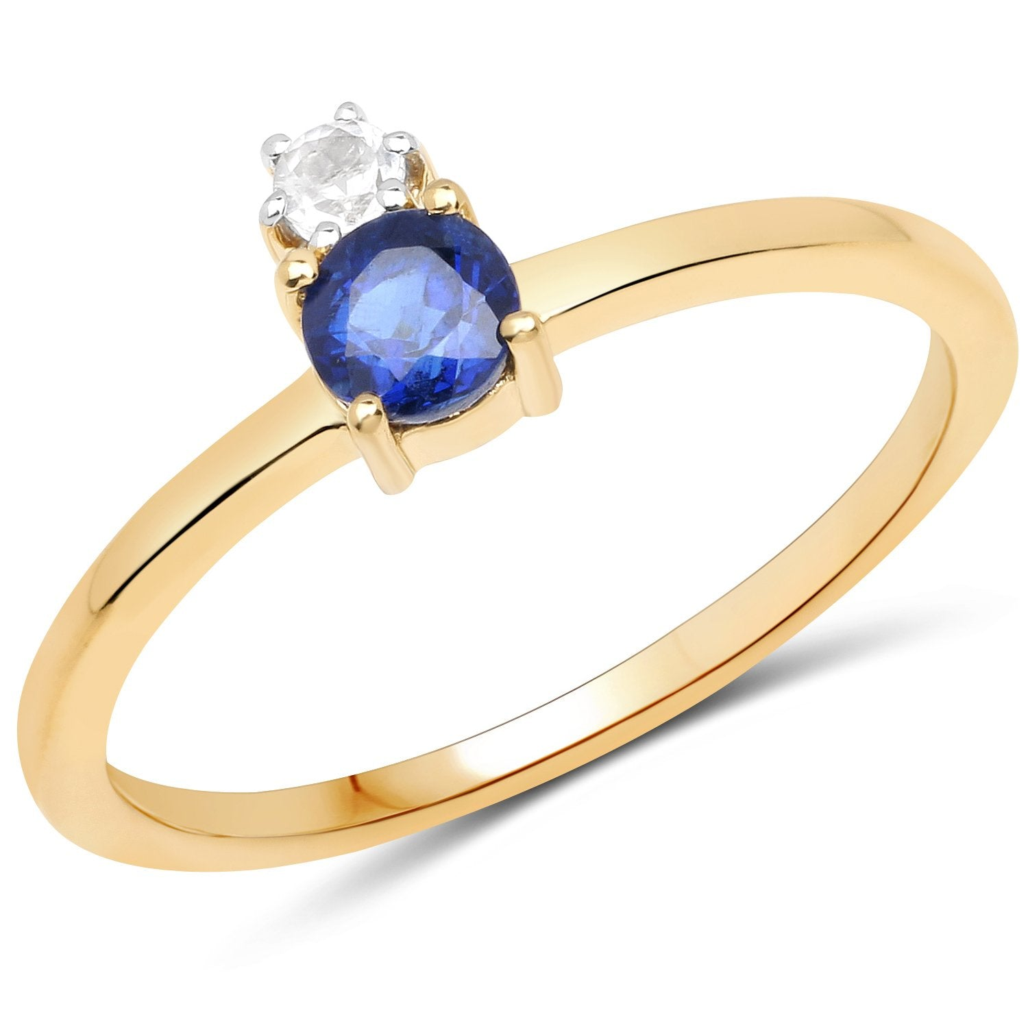 LoveHuang 0.42 Carats Genuine Kyanite and White Topaz Ring Solid .925 Sterling Silver With 18KT Yellow Gold Plating
