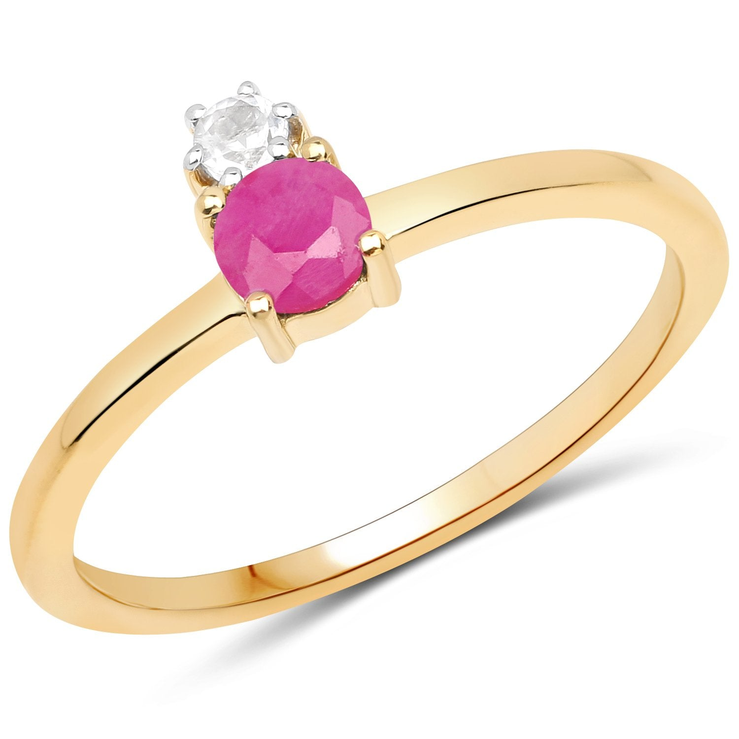 LoveHuang 0.35 Carats Genuine Ruby and White Topaz Dot Ring Solid .925 Sterling Silver With 18KT Yellow Gold Plating