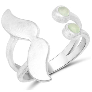 LoveHuang 0.27 Carats Genuine Prehnite Emoji Ring Solid .925 Sterling Silver With Rhodium Plating, Matte Finish