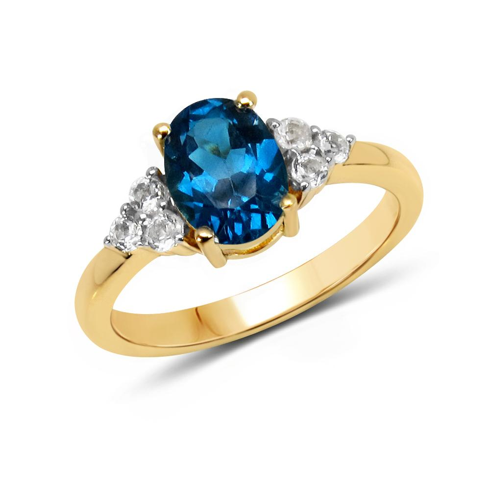 LoveHuang 1.52 Carats Genuine London Blue Topaz and White Topaz Oval Ring Solid .925 Sterling Silver With 18KT Yellow Gold Plating
