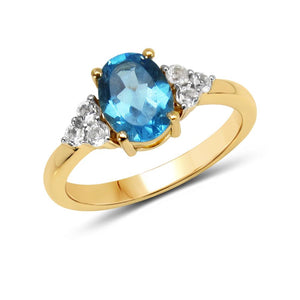 LoveHuang 1.66 Carats Genuine Swiss Blue Topaz and White Topaz Oval Ring Solid .925 Sterling Silver With 18KT Yellow Gold Plating