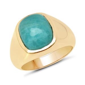 LoveHuang 3.60 Carats Genuine Amazonite Cushion Statement Ring Solid .925 Sterling Silver With 18KT Yellow Gold Plating