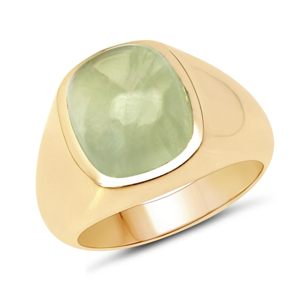 LoveHuang 5.61 Carats Genuine Prehnite Cushion Statement Ring Solid .925 Sterling Silver With 18KT Yellow Gold Plating