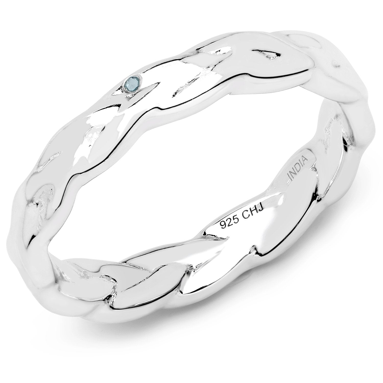 LoveHuang 0.02 Carats Genuine Blue Diamond (I-J, I2-I3) Twisted Ring Solid .925 Sterling Silver With Rhodium Plating