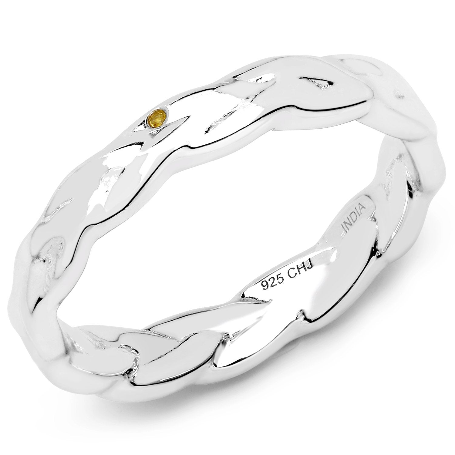 LoveHuang 0.02 Carats Genuine Yellow Diamond (I-J, I2-I3) Twisted Ring Solid .925 Sterling Silver With Rhodium Plating