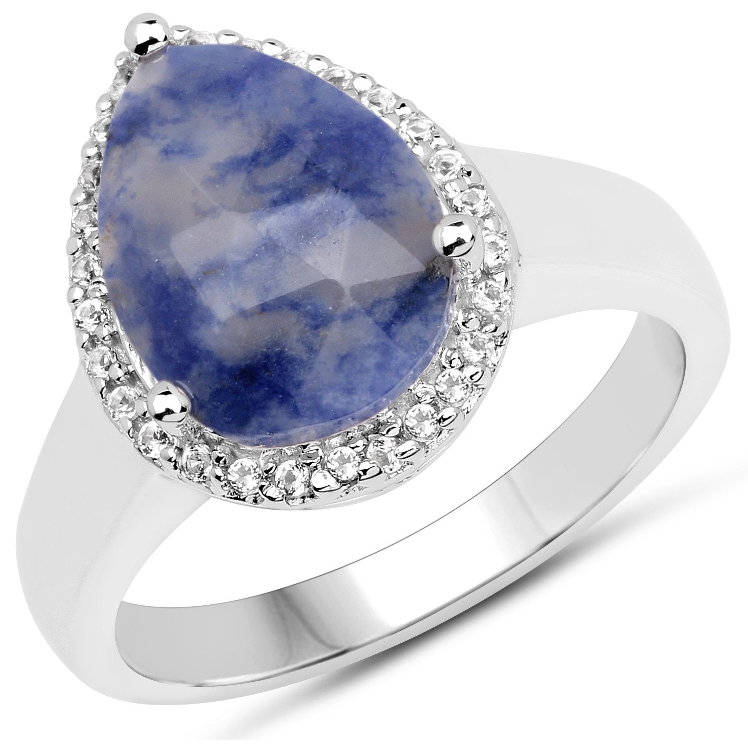 LoveHuang 2.10 Carats Genuine Blue Aventurine and White Topaz Ring Solid .925 Sterling Silver With Rhodium Plating