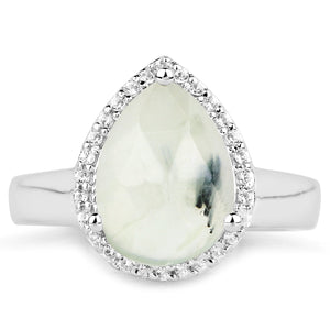 LoveHuang 3.13 Carats Genuine Prehnite and White Topaz Ring Solid .925 Sterling Silver With Rhodium Plating