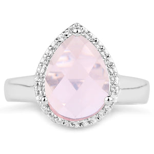 LoveHuang 2.68 Carats Genuine Rose Quartz and White Topaz Ring Solid .925 Sterling Silver With Rhodium Plating