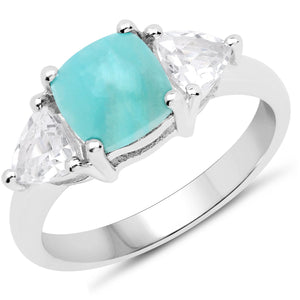 LoveHuang 2.34 Carats Genuine Amazonite Ring Solid .925 Sterling Silver With Rhodium Plating