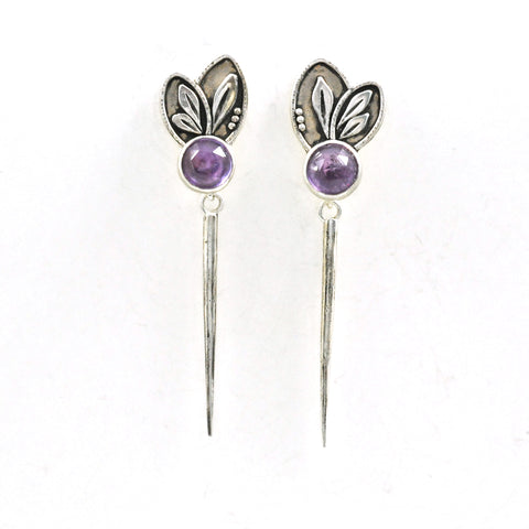 Amethyst Dagger Earrings by Vickie Hallmark