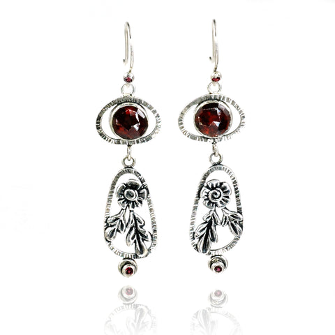 Vickie Hallmark | Garnet Blossom Drop Earrings
