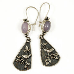 Vickie Hallmark | Lavender Memorial Earrings | Argentium sterling silver, fine silver, purple chalcedony