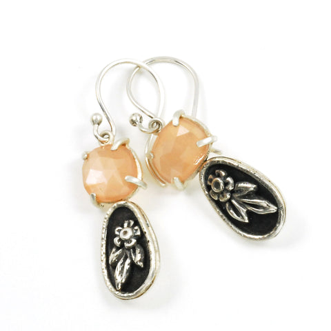 dark peach moonstone blossom earrings by Vickie Hallmark
