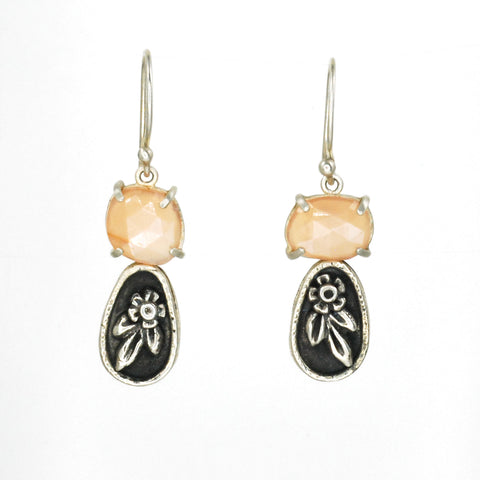 Vickie Hallmark | Peach Blossom earrings | peach moonstones, Argentium and fine silver