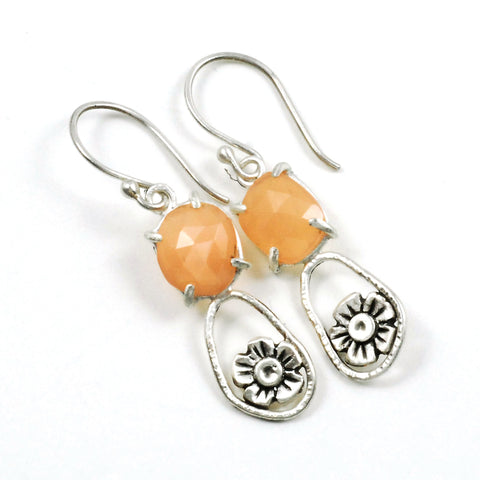 prong set peach moonstone blossom earrings
