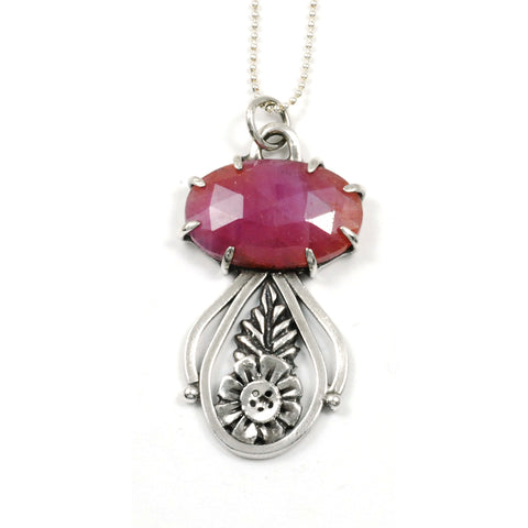 prong set pink sapphire pendant in Argentium and metal clay by Vickie Hallmark
