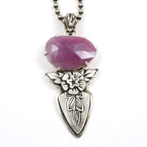pink sapphire shield pendant by Vickie Hallmark
