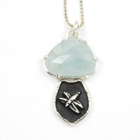 prong set aquamarine dragonfly pendant by Vickie Hallmark