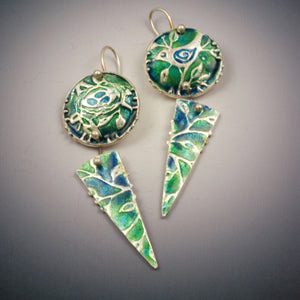 Vickie Hallmark | Bird & Nest Earrings | fine silver and enamel
