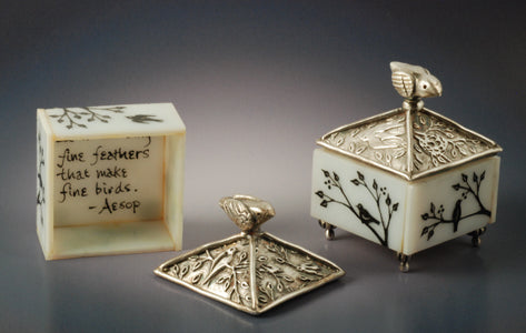 Vickie Hallmark | Bird Boxes | enamel painted glass, fine silver