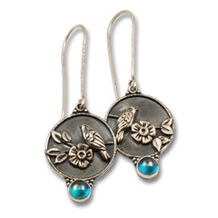 Vickie Hallmark | Blue Moon Earrings | Argentium sterling silver, fine silver, rainbow topaz