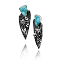 Vickie Hallmark | Blue Rose Earrings | Argentium sterling silver, fine silver, hemimorphite druzy
