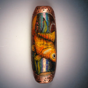 Vickie Hallmark | Dichro Fish Bead | flame worked glass, vitreous enamel, dichroic, electroformed copper