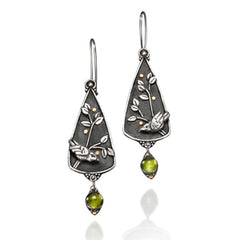 Vickie Hallmark | Goldberry Earrings | Argentium sterling silver, fine silver, 18k gold, peridot
