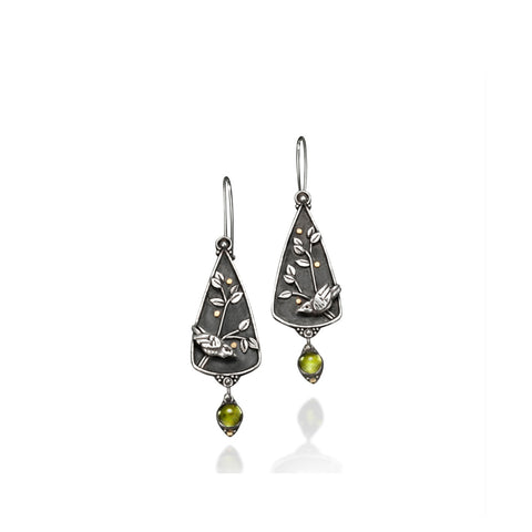 Vickie Hallmark | Goldberry Earrings | Argentium sterling silver, fine silver, peridot