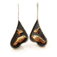 Vickie Hallmark | Goldfinch Earrings | Argentium sterling silver, 22k gold