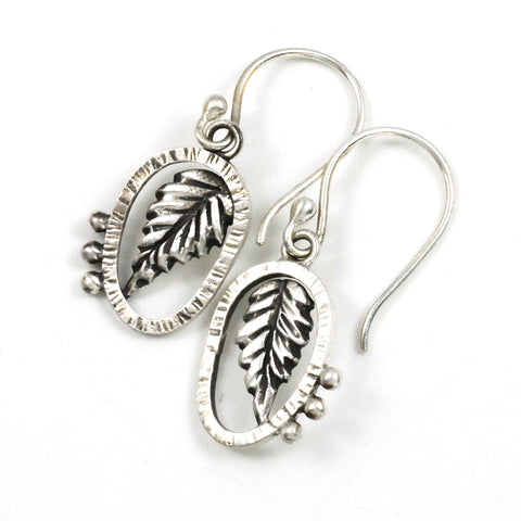 Vickie Hallmark | Lantana Leaf Earrings | Argentium and fine silver