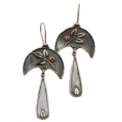 Vickie Hallmark | Moon Rain Earrings | Argentium sterling silver, fine silver, garnet