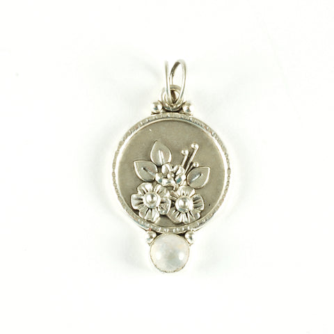 flower pendant - class sample from Vickie Hallmark jewelry workshop