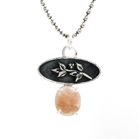 peach moonstone branch pendant by Vickie Hallmark