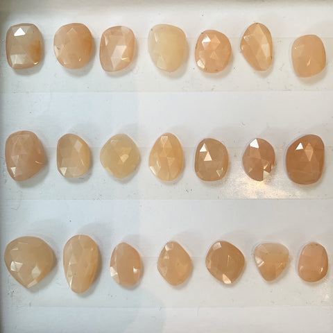 rose cut peach moonstones