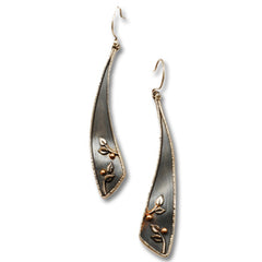 Vickie Hallmark | Rain Earrings | Argentium sterling silver, fine silver, 18k gold