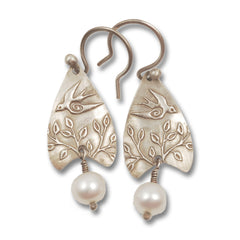Vickie Hallmark | Swallow Earrings | sterling silver and pearl