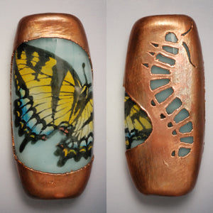 Vickie Hallmark | Swallowtail | flame worked glass, electroformed copper