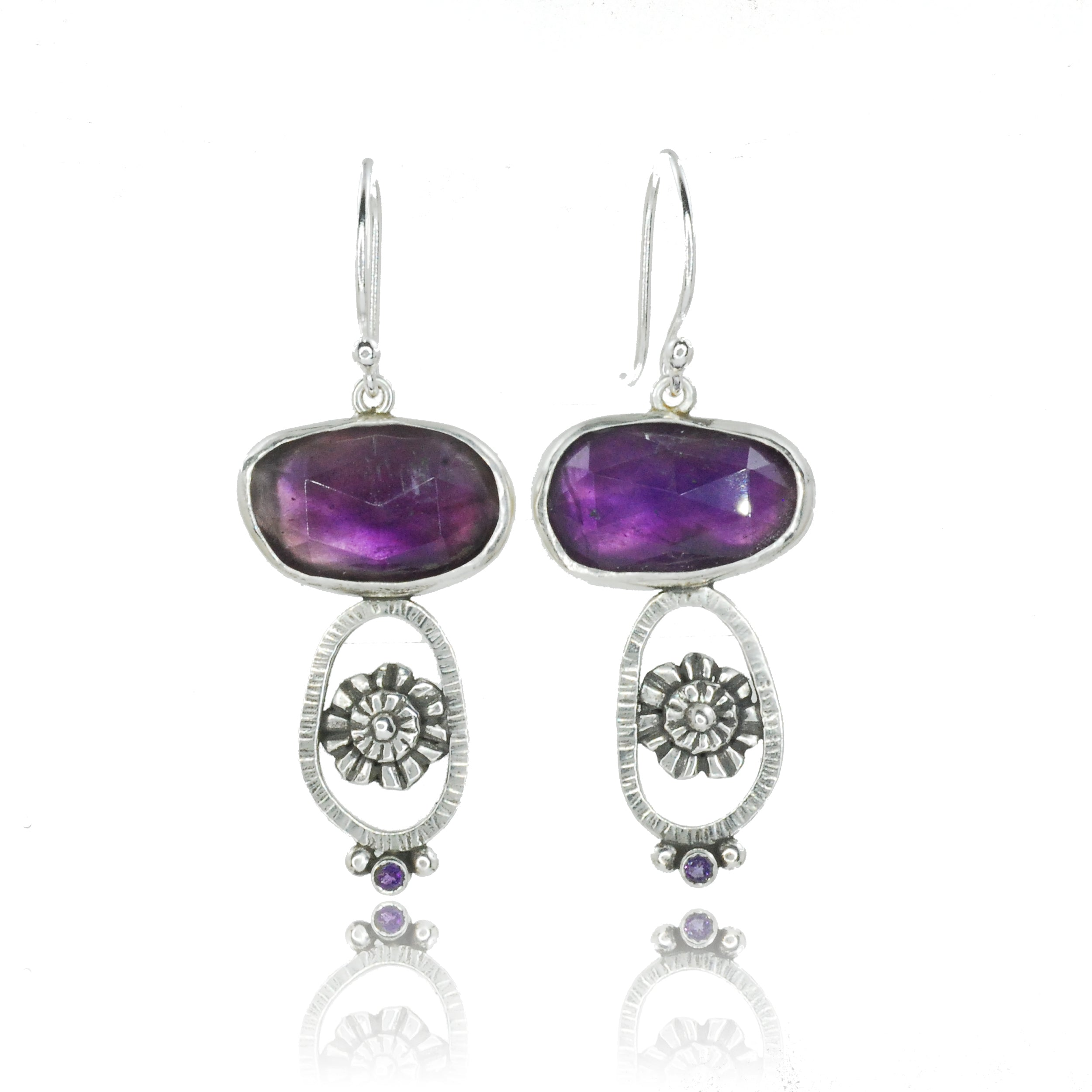 Amethyst Zinnia Earrings