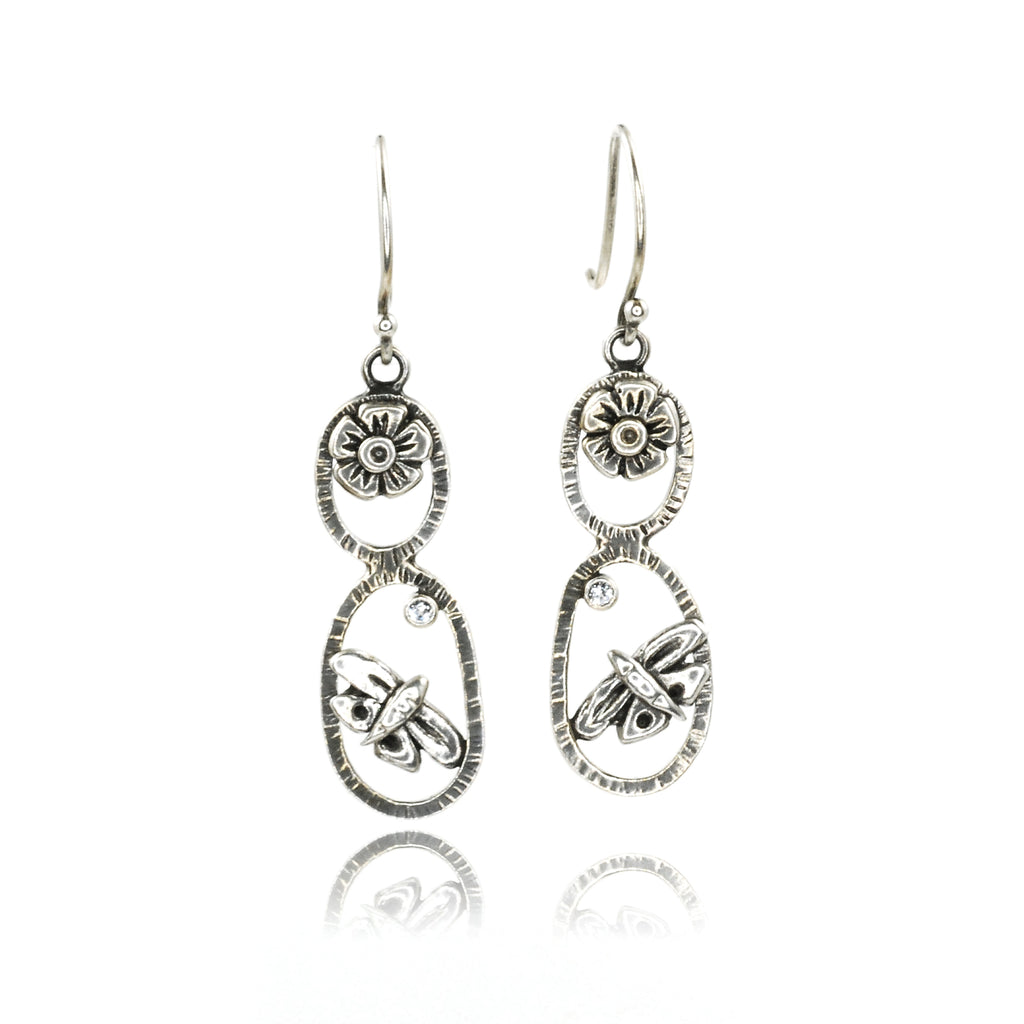 Butterfly Totem Earrings with White Topaz