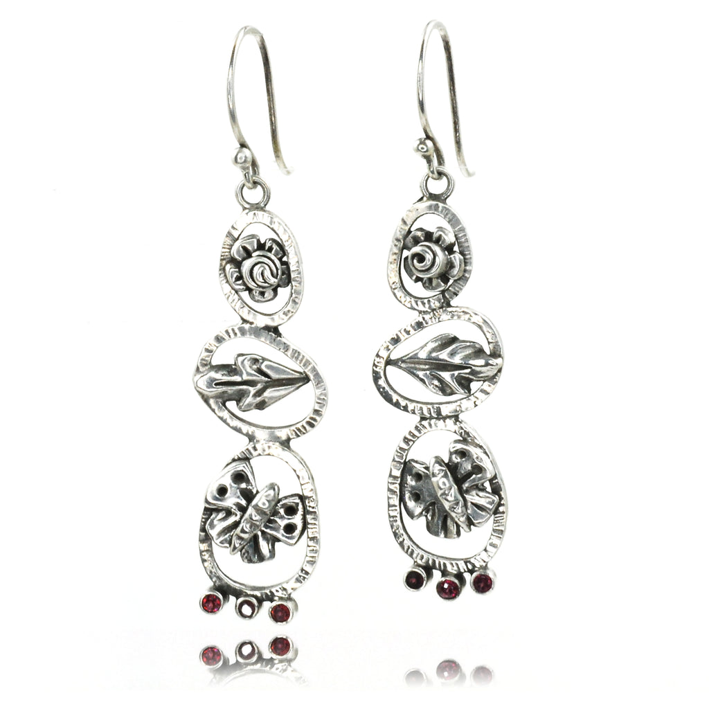 Butterfly Totem Earrings with Garnets