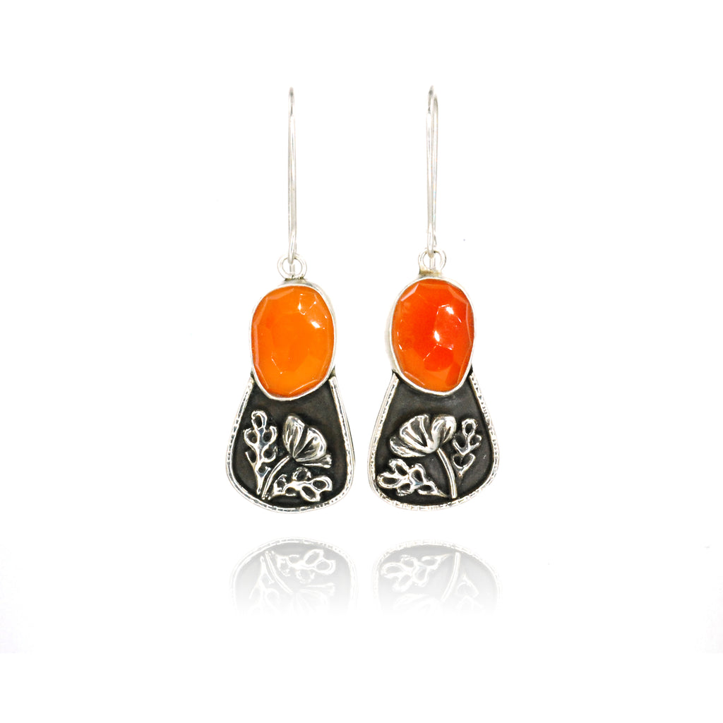 Carnelian Poppy Earrings