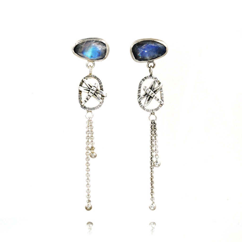 Moon Dragonfly Earrings